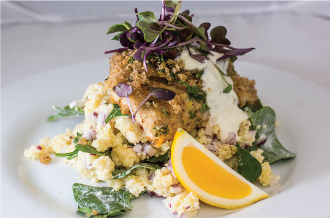 Baked-fish-with-a-parsley-crust-and-couscous